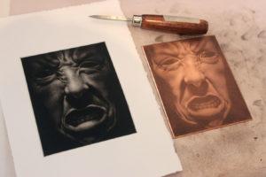 Mezzotint Print, Clara Lieu