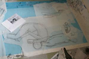 Lithographic Crayon Drawing, Clara Lieu